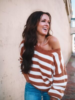 how to style off the shoulder chunky sweater affordable mila grey boutique fall fashions striped sweater 2