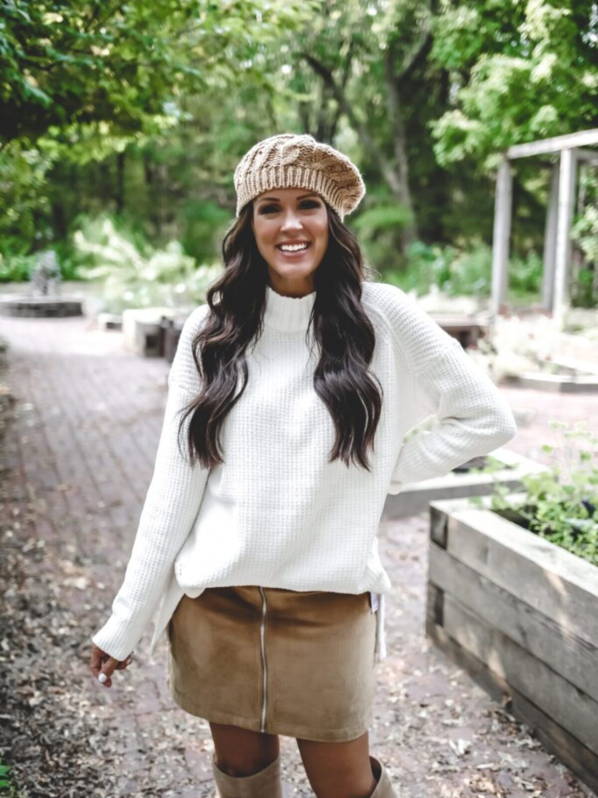 columbus day sales target sale cordurory skirt oversized sweater cable knit beret fall outfit knee high boots