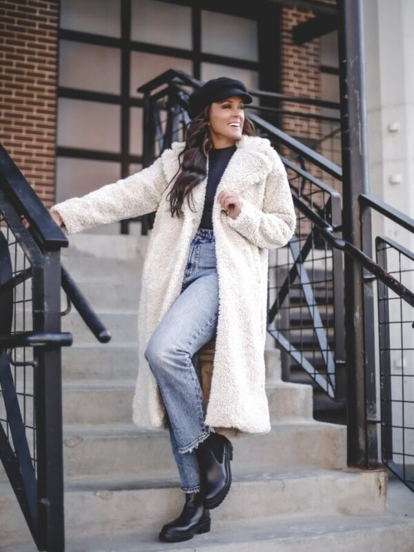fall and winter style with abercrombie long sherpa coat jacket bodysuit mockneck abercrombie straight crop jeans paper boy hat winter outfit fall outfit 2