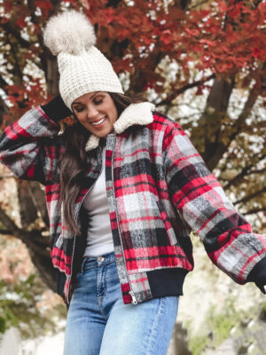 target style wild fable plaid sherpa jacket bomber
