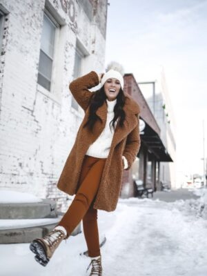 how to layer neutrals teddy coat sherpa coat camel coat pom beanie layering neutrals winter neutral outfit kyikyi faux fur pom beanie palmer clothing target style 5
