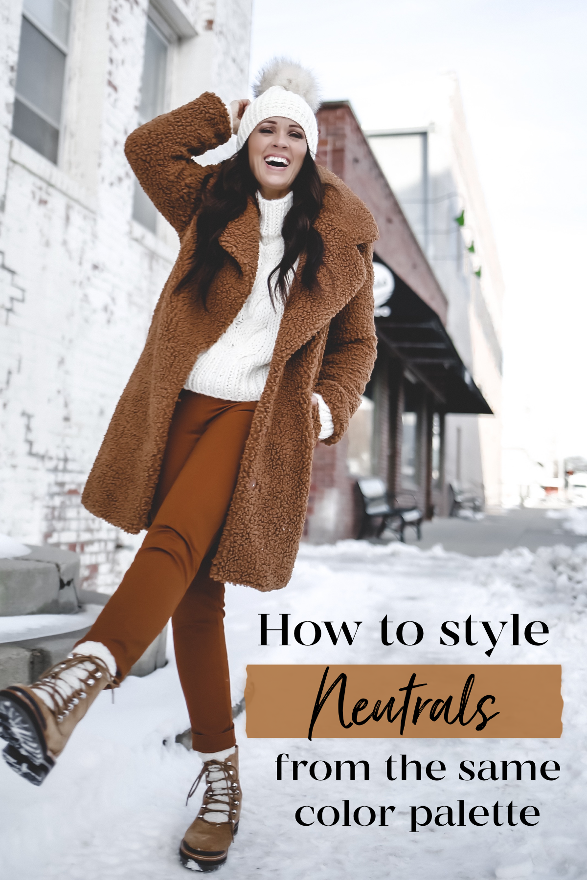 how to layer neutrals teddy coat sherpa coat camel coat pom beanie layering neutrals winter neutral outfit kyikyi faux fur pom beanie palmer clothing target style